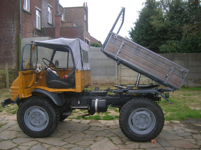 unimog 421 kipper mit klappverdeck fahrerhaus agricultural machinery from belgium for sale at. Black Bedroom Furniture Sets. Home Design Ideas