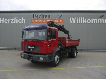 Camion benne MAN ME 18.250 B Meiller 3-S-Kipper, Hiab 085-2 Kran