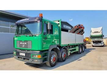 MAN 35.414 8X4 stake body + crane PALFINGER PK 54000 E + JIB + REMOTE - camion plateau ridelle