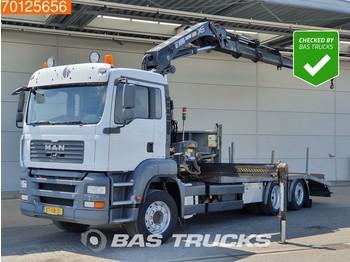 MAN TGA 26.320 6X2 Steering-Axle Kran Crane HIAB 244 EP-4 HIDUO - camion plateau ridelle