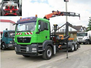 MAN TG-S 26.360 6x2-2 BL Abrollkipper mit Kran Funk  - multibasculante camión