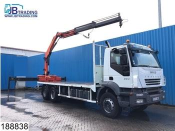 Ciężarówka burtowa Iveco Trakker 360 6x4, Palfinger crane, Airco, Steel suspension, euro 4