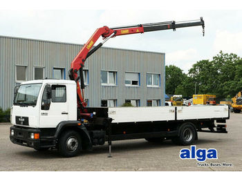 Ciężarówka burtowa MAN 15.224, 6,7 m. lang, HMF Kran, 2x hydr. Ausschub