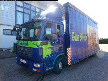 MAN TGL 12.240 4x2 BL Glas Reff mit Heckkran HIAB  - ciężarówka burtowa