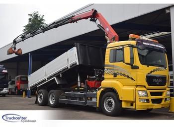 Ciężarówka burtowa MAN TGS 26.360, 17 t/m HMF, Euro 5, 6x2, Truckcenter Apeldoorn