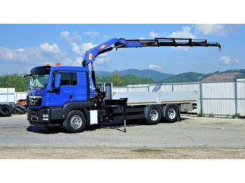 MAN TGS 26.360 Pritsche 6,40 m+Kran/FUNK *6x4!  - ciężarówka burtowa