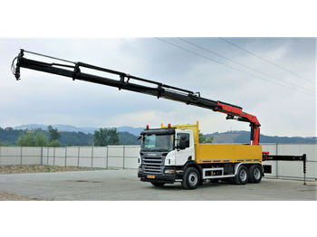 Ciężarówka burtowa Scania P340 Pritsche 5,40m +Kran *6x4*Topzustand!