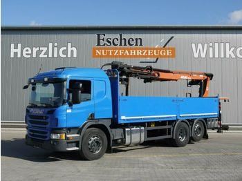 Ciężarówka burtowa Scania P 360, 6x2, Atlas 186.3 V Kran, Bl/Lu, Klima
