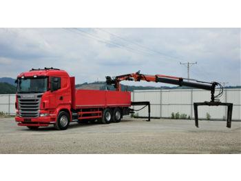 Scania R480 *Pritsche 6,90 m + KRAN*Top Zustand!  - ciężarówka burtowa