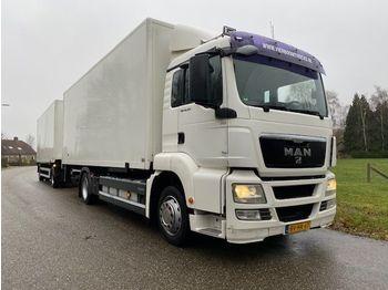 Ciężarówka furgon MAN TGS 18.320 BAKWAGEN MET LAADKLEP COMPLEET MET 2-ASSIGE AANHANGWAGEN