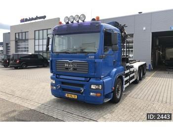Ciężarówka kontenerowiec/ system wymienny MAN TGA 35.430 XL, Euro 4, Palfinger 27t/m kraan vdl haakarm: zdjęcie 1