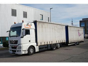 Ciężarówka plandeka MAN TGX 26.480 LL XXL 6x2 Komplettzug 114m³ Tandem