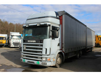 Ciężarówka plandeka Scania R114LB6X2NB 380,SLEEPING CABIN+trailer PANAV2004