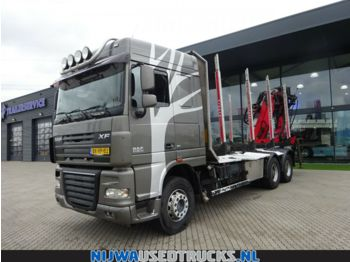 DAF XF 105 460 Palfinger Kraan + Vangmuil  - timber transport