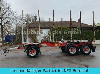 Timber transport Huttner N6SE-27 Kurzholz 3-Achs Anhänger  Blattfederung