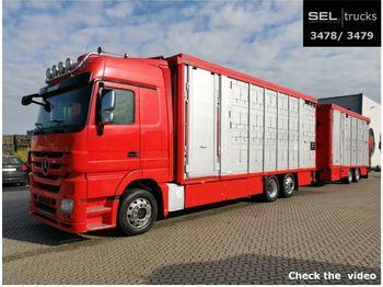 Mercedes-Benz Actros 2546 L / Lenkachse / Hubdach / 3 Stock  - djurtransport lastbil