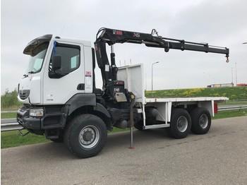 Lastbil Renault Kerax 380DXI 6x6 flatbed truck with Hiab 144B-2 Hiduo Crane