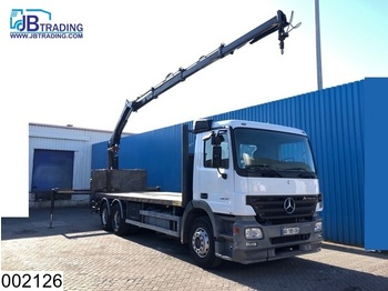 Mercedes-Benz Actros 2632 6x4, EPS 16, 3 pedals, Hiab crane, Remote, Steel suspension, Airco, Analoge tachograaf - flatbed lastebil