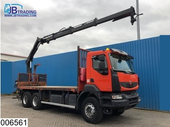 Flatbed lastebil Renault Kerax 370 Dxi 6x4, Manual, Hiab crane, Remote, Steel suspension, Airco, Hook