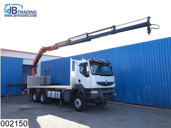 Flatbed lastebil Renault Kerax 450 Dxi 6x4, Palfinger crane, Steel suspension, Manual, Retarder, Airco, Hub reduction, Remote control