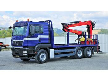 MAN TGA 33.440 Holztransporter + Kran Topzustand 6x4  - ciężarówka do przewozu drewna