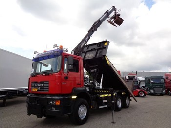 MAN 28-414 + Manual + PTO + Crane Hiab + Kipper + 6X6 - sklápěč