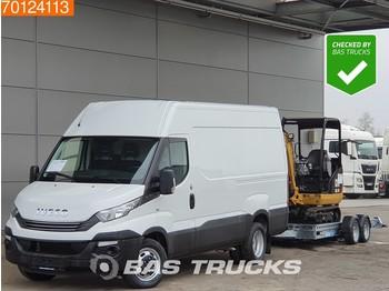 Furgon Iveco Daily 35C14 COMBIDEAL Bedrijfswagen Minigraver en Luchtgeveerde trailer L2H2 11m3 A/C Towbar Cruise control