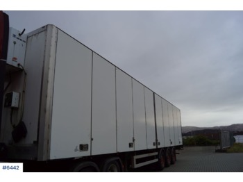 Narko 3 axle box semitrailer with side opening, heater with lttle hours rear lifter. - closed box semi-trailer
