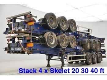 SDC Stack 4 x skelet: 20-30-40 ft - ημιρυμουλκούμενος μεταφοράς εμπορευματοκιβωτίων/ κινητό αμάξωμα