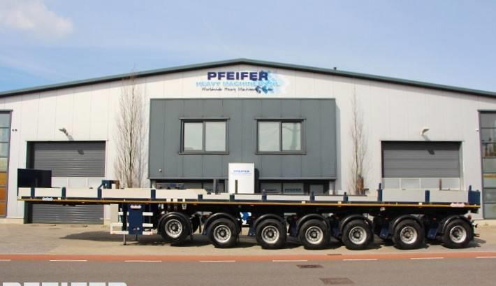 dropside/ flatbed semi-trailer Nooteboom OVB 95-07 69t Load Capacity, Available For Rent.