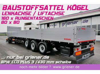 Kögel SN24 /BAUSTOFF 800 BW /160 x RUNGEN  LENKACHSE  - ημιρυμουλκούμενος επίπεδη