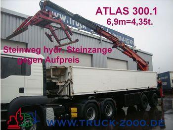LANGENDORF Stein/Baustoff+Heck Kran ATLAS 300.1 Bj.1999 - dropside semi-trailer