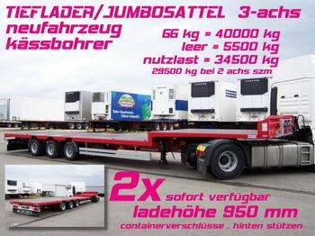 Kässbohrer JB JUMBO PLATEAU SATTEL TIEFLADER 3-achs - flatbed semi-trailer