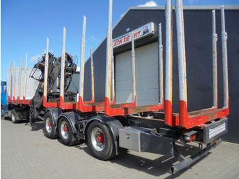 Menke-Janzen Holzauflieger mit krahn, lenkachse liftachse - vozilo za prevoz drva