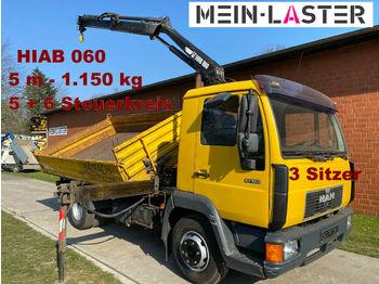 MAN 10.160 Meiller + Hiab 060  5m-1.25t 5+6 S.Kreis  - billenőplatós teherautó
