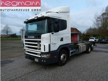 Kontejnerski tovornjak/ tovornjak z zamenljivim tovoriščem Scania 124 420 6x2, Euro 3, Retarder, Opticruise, dE