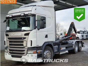 Kontejnerski tovornjak/ tovornjak z zamenljivim tovoriščem Scania G480 6X2 Steering-Axle Meiller Retarder Euro 5