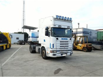 SCANIA R 124 L 420 left hand drive manual retarder air con - شاحنة جرار