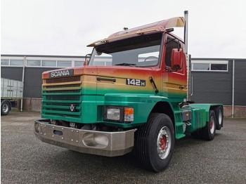 Scania T142HL Torpedo 6x2 V8 - Originele Sleepas Trekker - Schuifschotel - Bladgeveerd - شاحنة جرار
