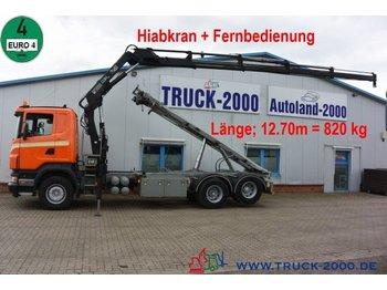 Cable system truck Scania R 340 Seil-Abrollkipper mit Hiab Ladekran + FB