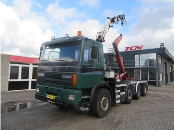 Ginaf M 4345-TS 8X6 HOOKLIFT + CRANE - container transporter/ swap body truck
