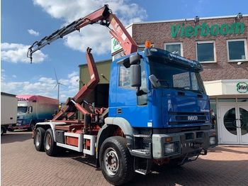 Container transporter/ swap body truck Iveco MP260E35H 6X4 KRAAN HAAKARM