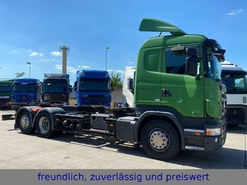 Container transporter/ swap body truck Scania * R 420 * RETARDER * OPTICRUSE * 2 X ALU TANK *