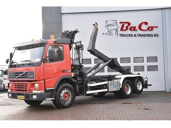Volvo FM12-62RA-8021S 6X2 - MANUAL - HOOKLIFTSYSTEM + HIAB CRANE - GOOD CONDITION - - container transporter/ swap body truck