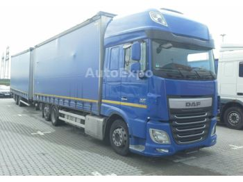 Curtainsider truck DAF XF 460 SSC FAN Low-Deck,mit Anhänger,2x LBW 1.5t
