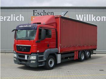 Curtainsider truck MAN TGS 26.360 6x2-2 BL, Stapleraufnahme, Klima