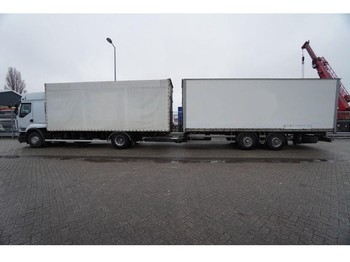 Renault PREMIUM 450 dxi Tautliner truck in combi with Closed box trailer - curtainsider truck