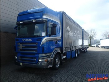 Curtainsider truck Scania R500 V8 Euro 5 6x2 + VanHool Trailer
