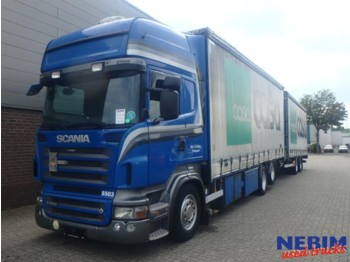 Curtainsider truck Scania R500 V8 Euro 5 Retarder + Vanhool trailer