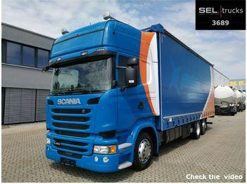 Curtainsider truck Scania R 450/Retarder/Standklima/Hubdach/Staplerhalter.